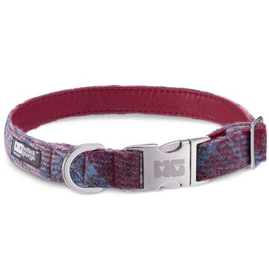 Bonnie's Pinks & Purples Dog Collar with Magenta Leather