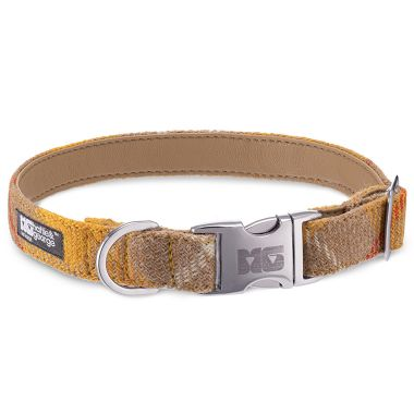 Cookie & Cream Dog Collar with Camel Leather