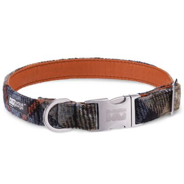 Cooper's Blue Dog Collar with Orange Leather
