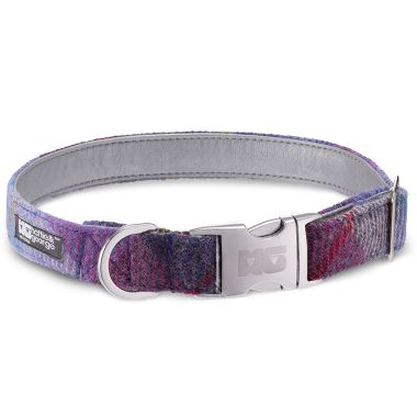Daisy Heather Dog Collar with Metallic Silver Leather
