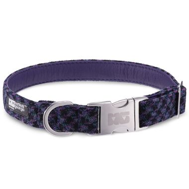 Danni's Purples & Blacks Dog Collar with Royal Purple Leather