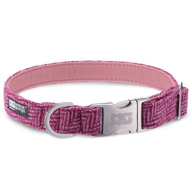 Ellie's Pink Delight Dog Collar with Rose Pink Leather