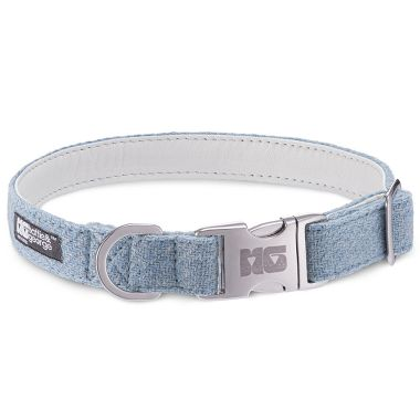 Hugo's Blue Wave Dog Collar with White Leather