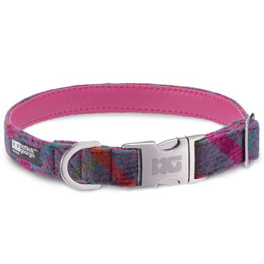 Lily's Check Dog Collar with Bubblegum Leather