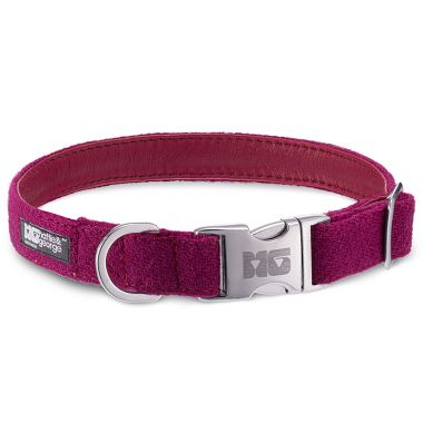 Luna's Blush Dog Collar with Magenta Leather
