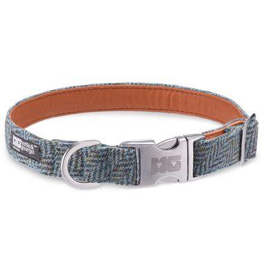 Milo's Blue Arrow Dog Collar with Orange Leather