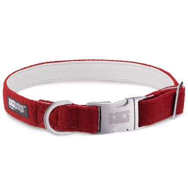 Poppy Red Dog Collar with White Leather
