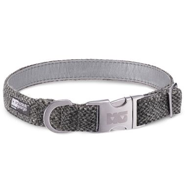 Salt & Pepper Dog Collar with Metallic Silver Leather