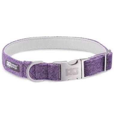 Sasha's Purple Dog Collar with White Leather