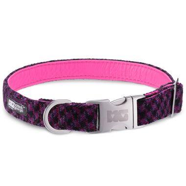 Sassy Pinks & Blacks Dog Collar with Neon Pink Leather